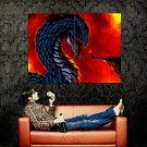 Giant Dragon Vs Mage Fantasy Painting Art Huge 47x35 Print Poster