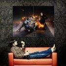 Fantasy Bull Sci Fi Fire Artwork Huge 47x35 Print Poster