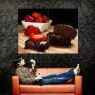 Chocolate Cake Strawberry Dessert Food Huge 47x35 Print Poster