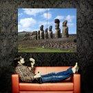 Moai Statues Easter Island Huge 47x35 Print Poster