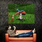 Mushroom Worm Lewis Carroll Art Huge 47x35 Print Poster