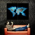 Glowing World Map Art Huge 47x35 Print Poster