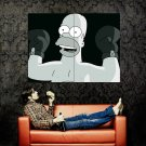 Homer Simpson Boxing BW Art Huge 47x35 Print Poster
