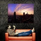 Sunset City Clouds Cityscape Huge 47x35 Print Poster