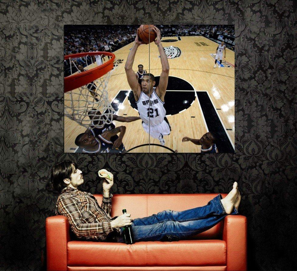Tim Duncan Dunk San Antonio Spurs NBA Huge 47x35 Print Poster