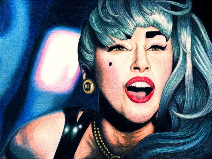 Lady Gaga Portrait Painting Art Singer Music 32x24 Print POSTER