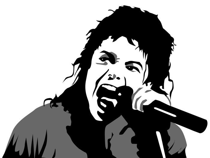 Michael Jackson Vector BW Art Music Singer 32x24 Print POSTER