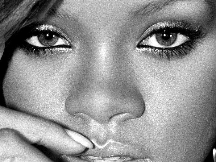 Rihanna Face Portrait BW Music 32x24 Print POSTER