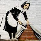 Maid Banksy Graffiti Street Art 32x24 Print POSTER