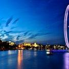 London Night City Lights Wheel River 32x24 Print POSTER