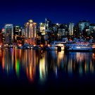 Vancouver Skyline Night Lights Water Reflections Canada 32x24 Print POSTER