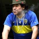 Diego Armando Maradona Football Legend Cigar Sport 32x24 Print POSTER