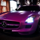 Mercedes SLS AMG Purple Street Night Sport Car 32x24 Print POSTER
