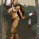 Tomahawk Warrior Hot Sexy Girl Native American Indians 32x24 POSTER