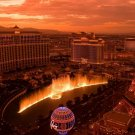 Las Vegas Sunset Fountain Lights Around The World 32x24 POSTER