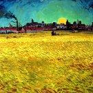 Vincent Van Gogh Summer Evening Wheatfield Sun 1888 Art 32x24 POSTER
