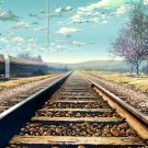 Nature Distance Railway Sky Clouds Anime Art 32x24 POSTER