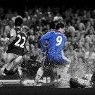 Fernando Torres Chelsea BW Football 32x24 Print POSTER