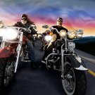Bikers Vector Art Classic Bike Motorcycle 32x24 Print POSTER