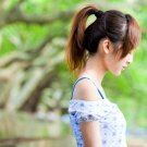 Thoughtful Cute Asian Girl Ponytail 32x24 Print POSTER