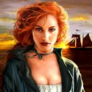 Hot Redhead Girl Sea Sunset Art 32x24 Print POSTER