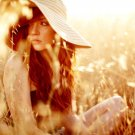 Hot Redhead Girl Nature Hat 32x24 Print POSTER