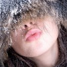 Girl Blowing Kiss Snow Winter 32x24 Print POSTER