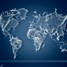 World Map Water Splashes Cool 32x24 Print POSTER