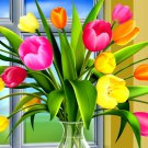 Colorful Tulips Vase Art 32x24 Print POSTER