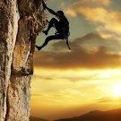 Speed Climbing Cliff Sunset Sport 32x24 Print POSTER