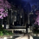 City Garden Night Skyscrappers Art 32x24 Print POSTER
