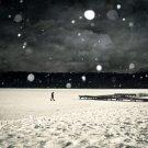 Snowflakes Winter Man Night BW Nature 32x24 Print POSTER