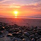 Stones Sunset Seashore Landscape 32x24 Print POSTER