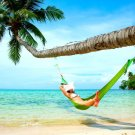 Girl Hammock Palm Tree Beach Sea Nature 32x24 Print POSTER
