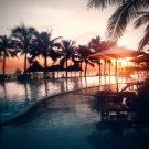 Sunset Swimming Pool Palms Landscape 32x24 Print POSTER