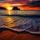 Ocean Flow Sunset Sky Landscape 32x24 Print POSTER