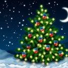 Christmas Tree Stars Moon Night Art 32x24 Print POSTER