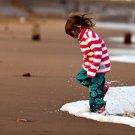 Little Girl Playing Seashore Beach Mood 32x24 Print POSTER
