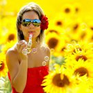 Soap Bubble Blower Girl Sunflowers Mood 32x24 Print POSTER