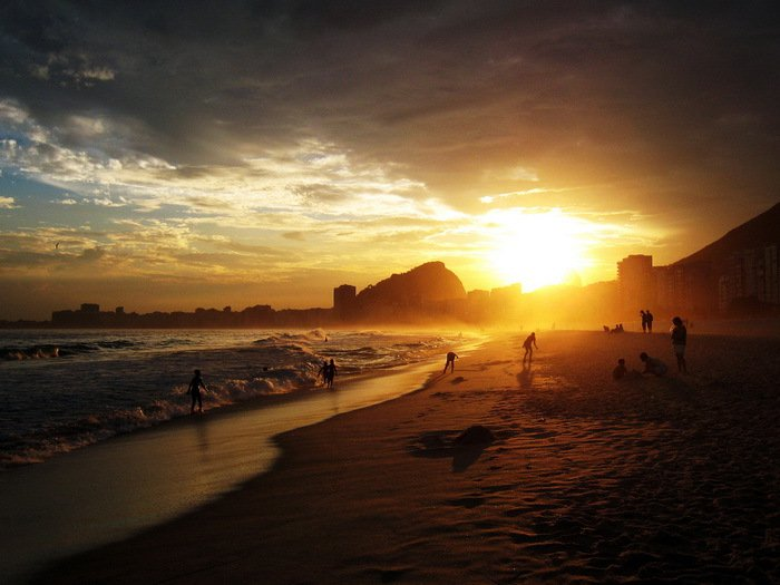 Copacabana Sunset Rio De Janeiro 32x24 Print Poster