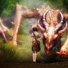 Dragon Girl Warrior Fantasy Artwork 32x24 Print Poster