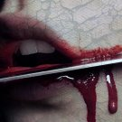 Mouth Blood Knife Lips Pain 32x24 Print Poster