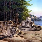 Wolves Painting Art Animal Nature 32x24 Print Poster