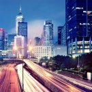 Hong Kong Night City Lights Cityscape 32x24 Print Poster