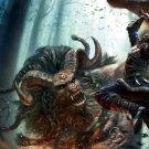 Giant Minotaur Demon Battle Art 32x24 Print Poster