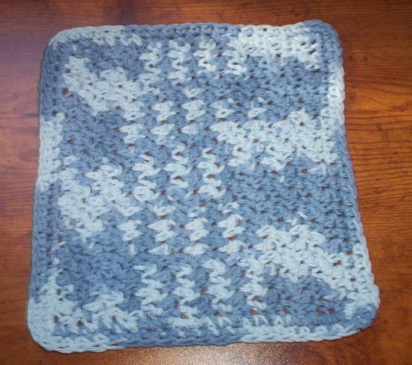 100% Cotton Crochet Dishcloth Faded Denim