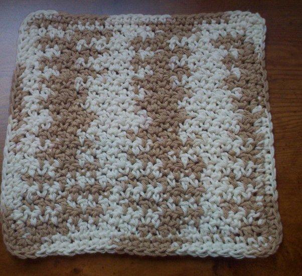100% Cotton Crochet Dishcloth Natural Ombre