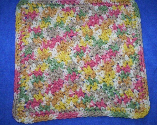 100% Cotton Crochet Dishcloth Peppercorn