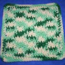 100% Cotton Crochet Dishcloth Ecru Shades of Green