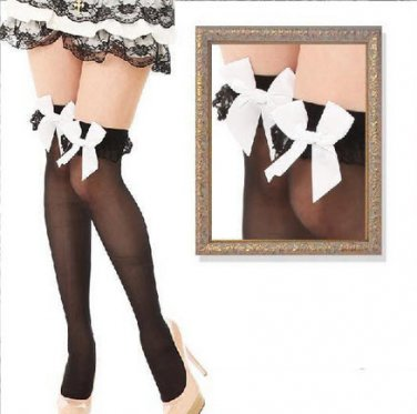 Free Ship-Garter lace ruffle bow Stay Up Thigh-Highs Stockings